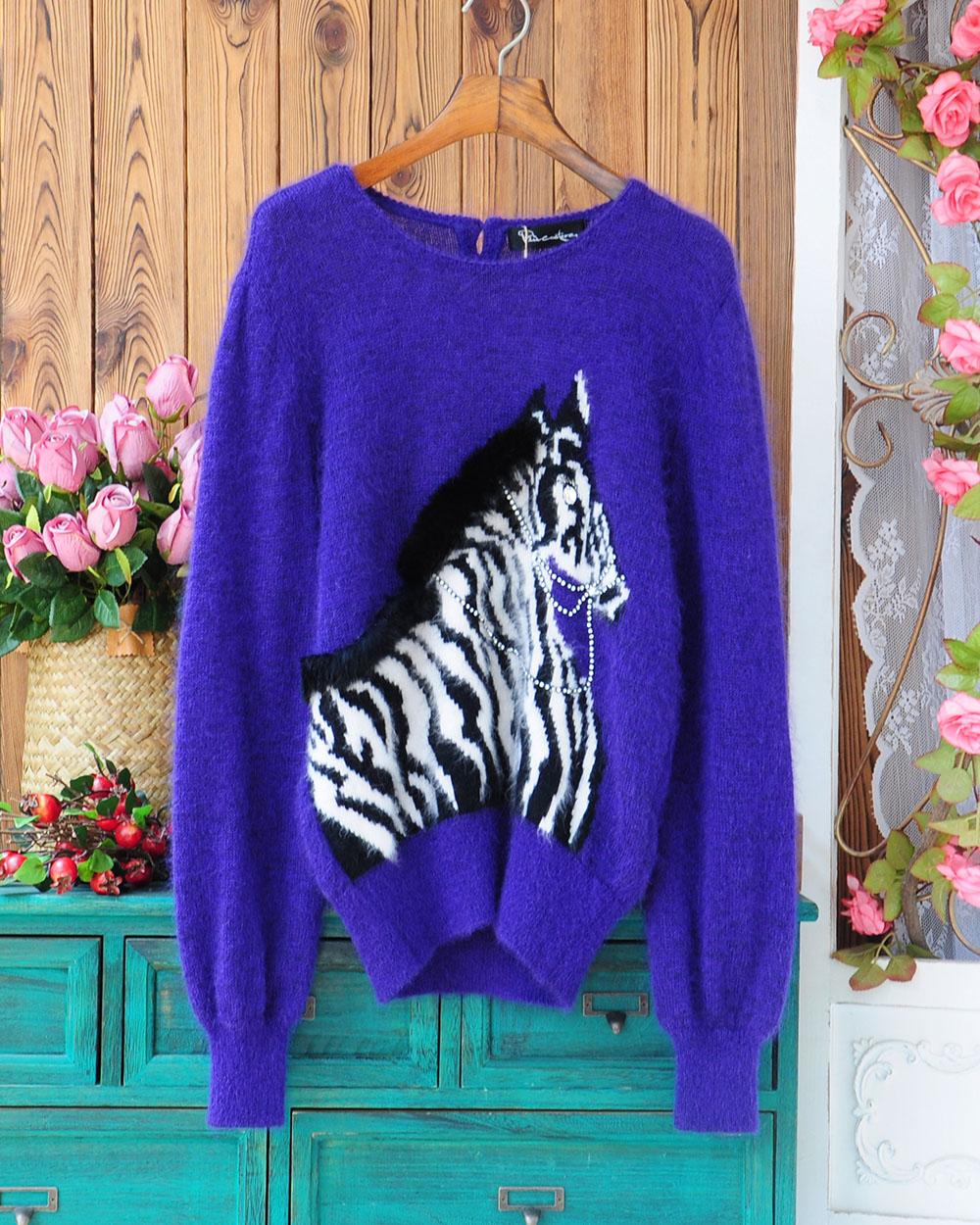 New style original autumn and winter ladies temperament zebra pattern long Mohair rabbit hair purple Pullover Sweater