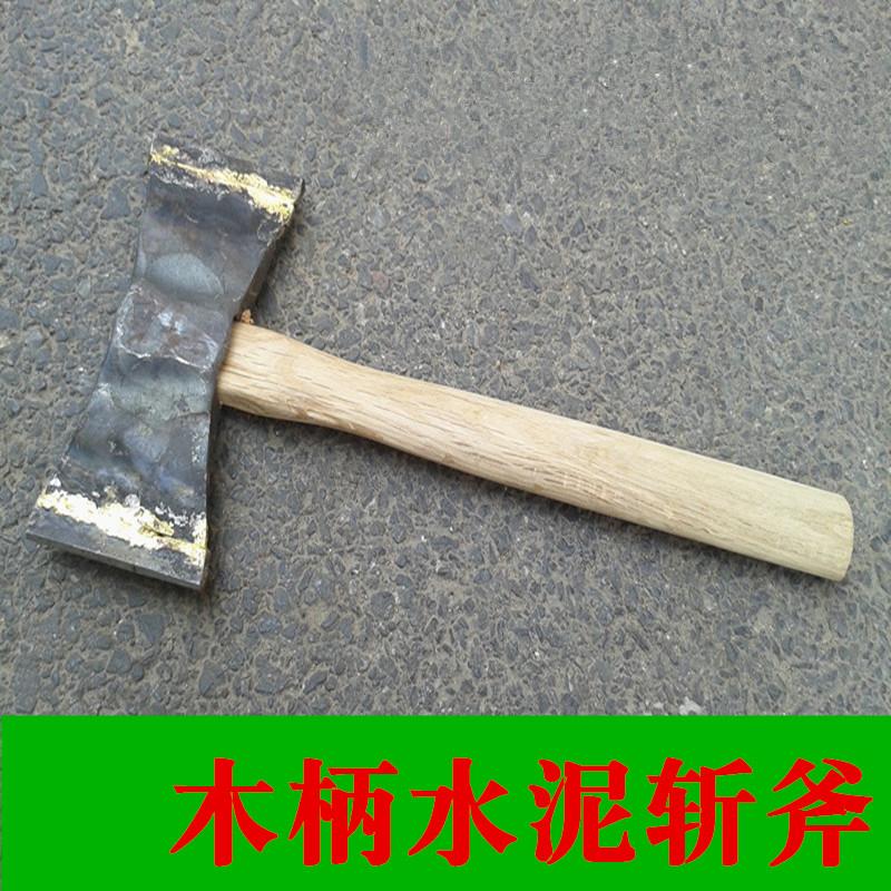 Вольфрамовый молот ударяет по цементной стене панель Топор, измельчающий каменный топор двухсторонней кирки с деревянной ручкой