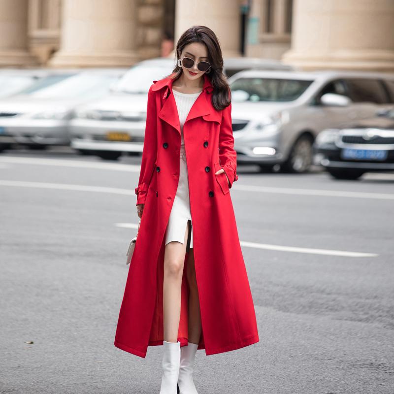 2019新款春秋装过膝超长款休闲修身显瘦红色端庄大气质风衣外套女
