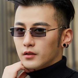 无框变色眼镜男士款潮防蓝光切边镶钻太阳镜墨镜近视平光防紫外线