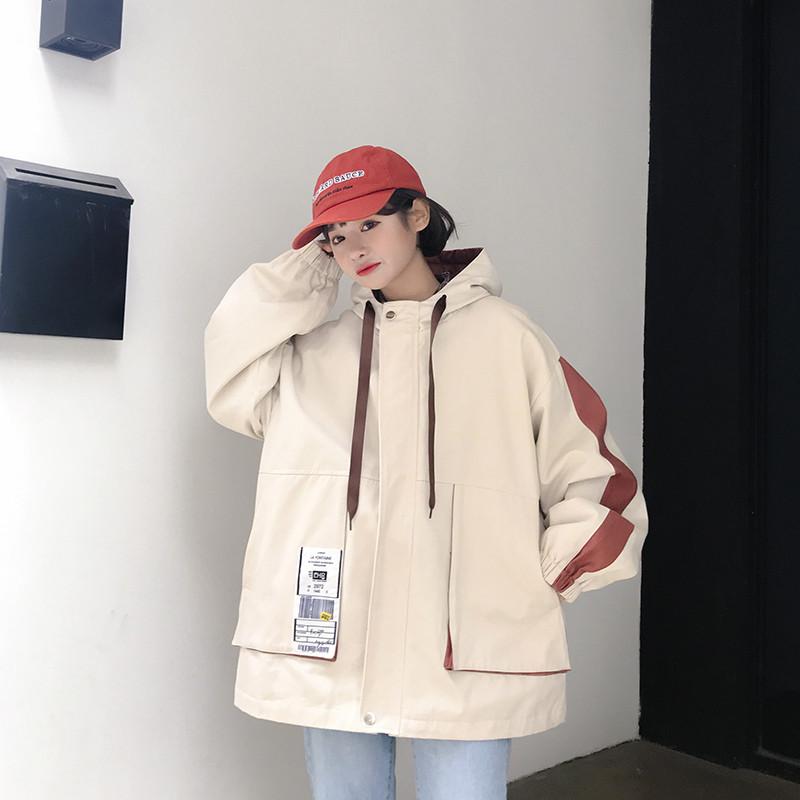 實拍外套女春秋新款寬松連帽學生工裝夾克