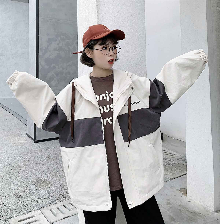 实拍2020新款春秋韩版宽松学生工装夹克外套