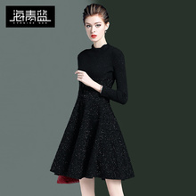 Haiqing blue autumn and winter knitted skirt 2019 new waistband show thin temperament foreign air bright silk black dress 21840
