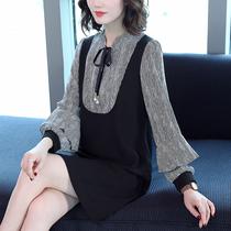 2019秋装新款加大码女装显瘦中长款长袖打底衫胖mm遮肚连衣裙减龄