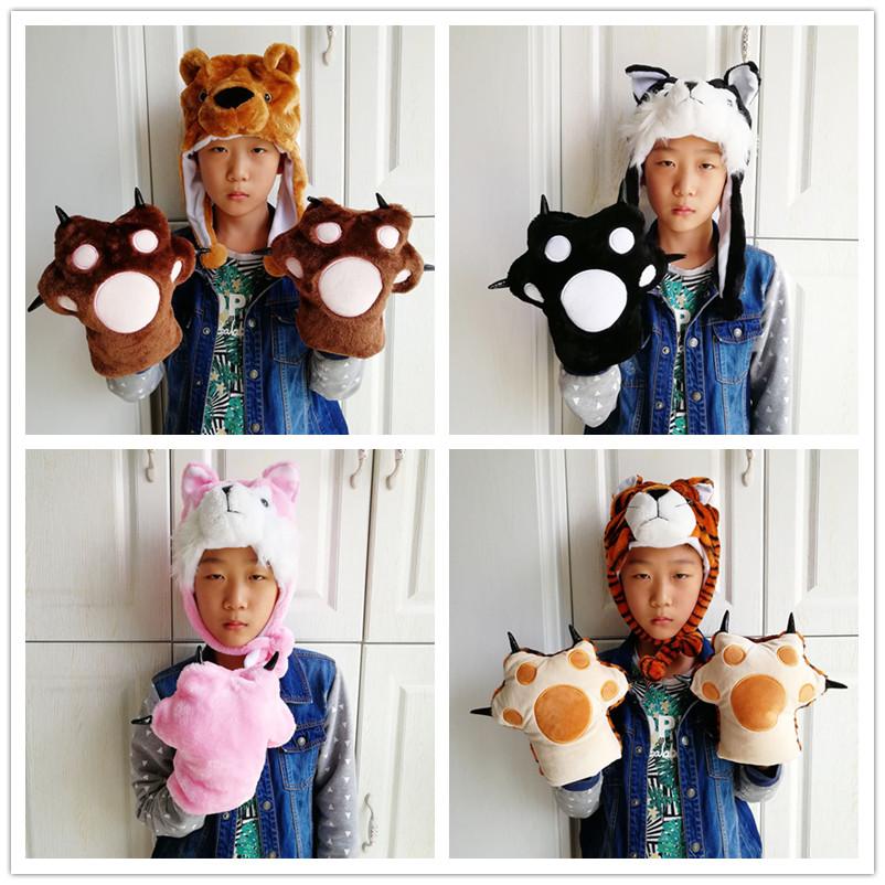 老虎棕熊粉色黑色动物手套爪子熊手掌黑熊猫爪毛绒儿童表演道具
