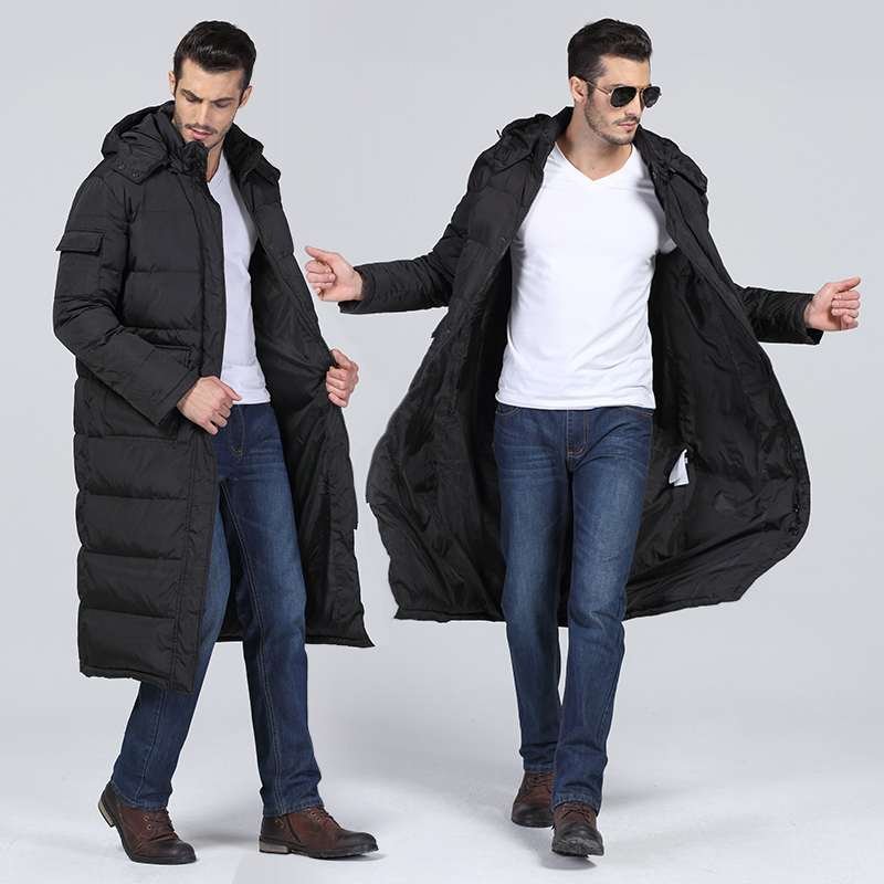 New off season mens long down jacket thickened over knee sports down coat extra long large outdoor cold proof suit