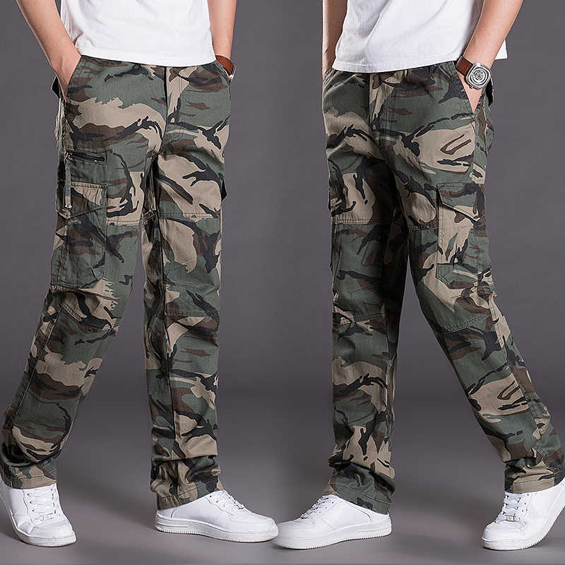 Camouflage pants pure cotton summer new mens pants loose Multi Pocket overalls outdoor casual pants trendy military pants