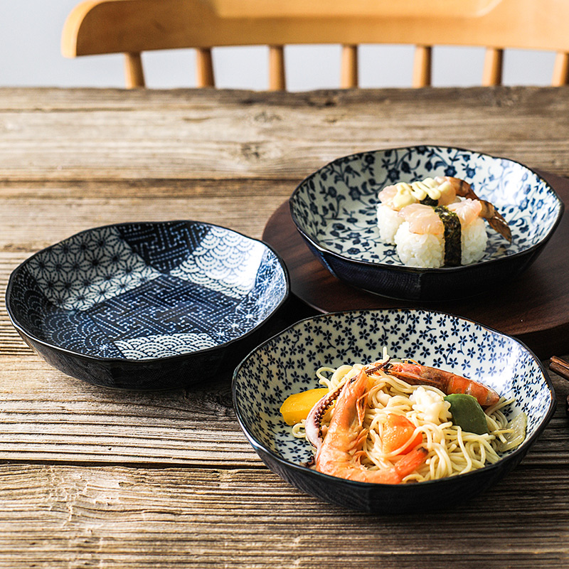 爱悦居日本进口陶瓷16CM深盘子日式餐具家用创意菜盘高颜值轻奢风