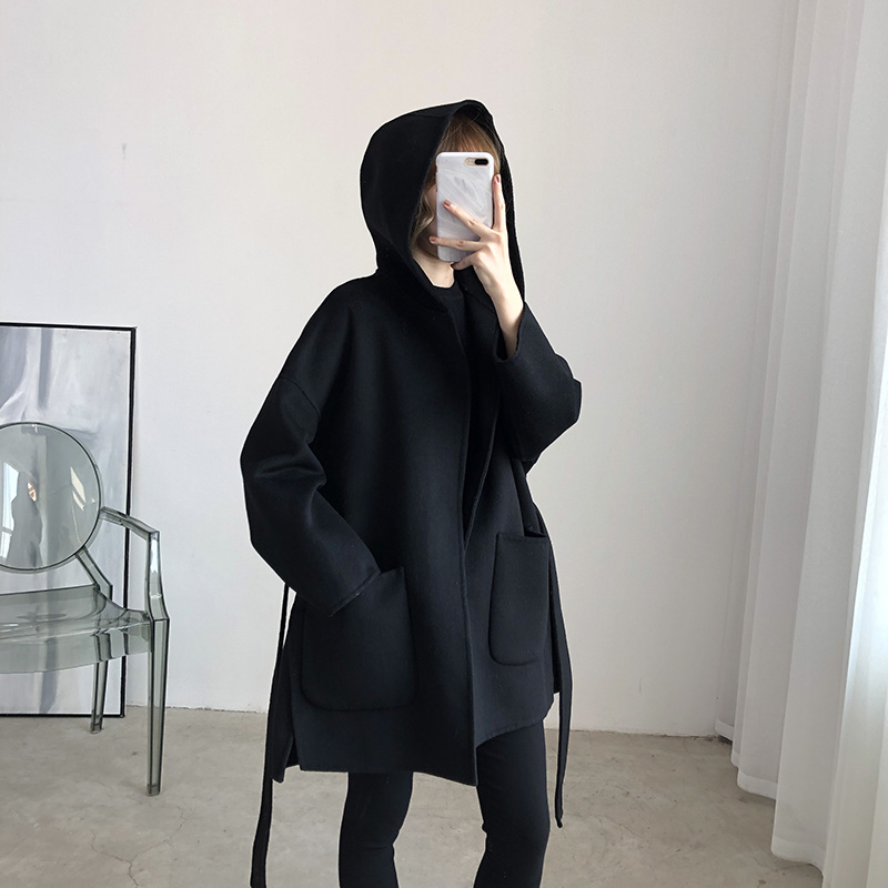 Autumn and winter 2020 new double faced cashmere overcoat womens middle and long hooded loose and thickened 100% wool tweed coat