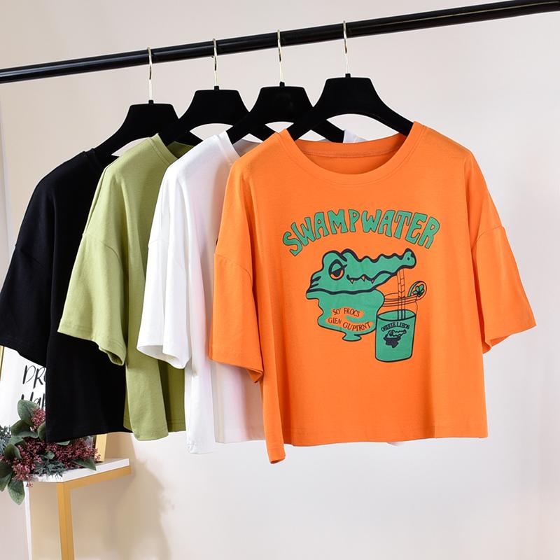 2019夏季新款学生卡通小鳄鱼印花字母休闲短款上衣宽松短袖T恤女