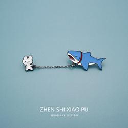 遛鲨鱼宝宝徽章男女卡通ins胸针