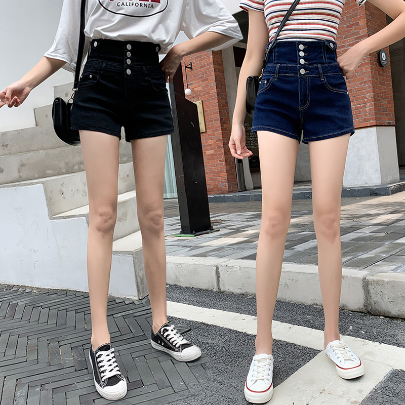 Super high waist denim shorts womens loose and thin breasted slim fit