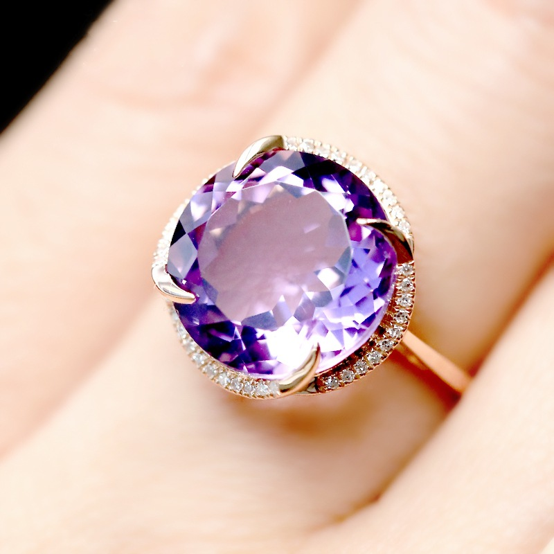 Clear day Topaz 18K Gold Plated Amethyst Aquamarine Topaz Color Gemstone open ring
