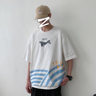 Y321*2019夏装新款日系复古潮流鲸鱼印花情侣短袖T恤 P45 控55