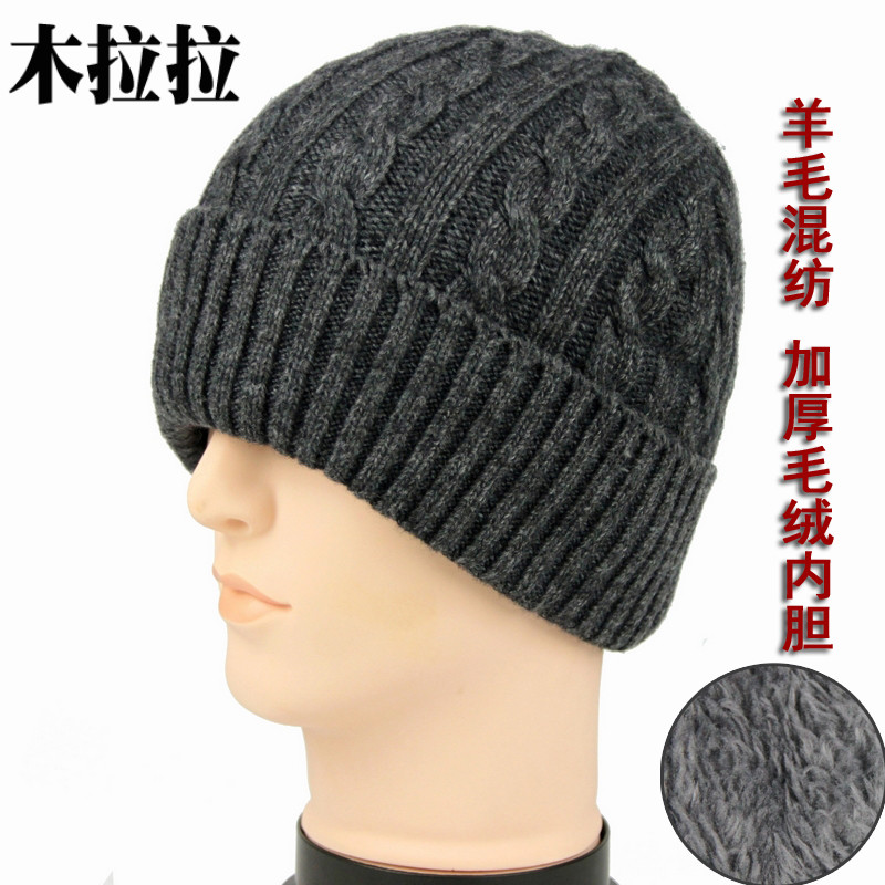 Wool old mans hat with plush and thickened fathers hat middle-aged and old mens hat in winter