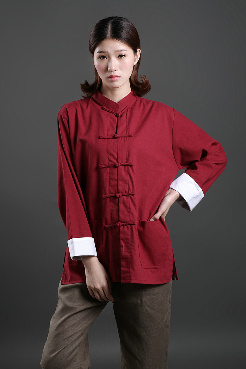 Chinese style retro coil button National Style Mens and womens cardigan cotton hemp shirt coat Tang suit large size shirt