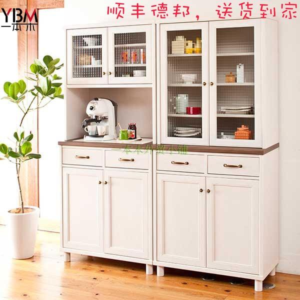 日式新款厨房餐边柜收纳柜碗柜玻璃门柜子电器柜餐厅茶水柜简约