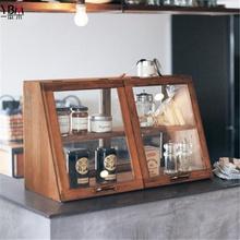 日式纯实木厨房收纳柜碗柜调料柜小型餐边柜餐桌整理柜玻璃储物柜