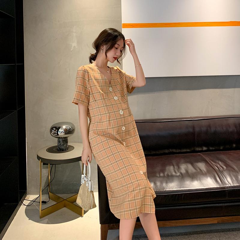 2019夏装新款孕妇装ol复古风连衣裙10月23日最新优惠