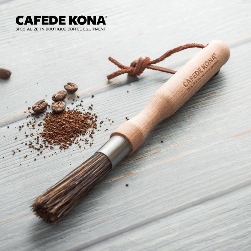 cafede kona磨豆机带挂绳咖啡毛刷