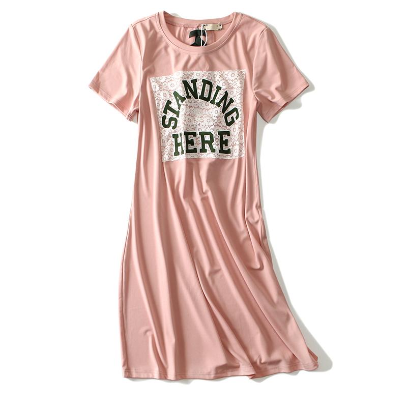 姐姐优品 夏季新款大码女装少女心蕾丝拼接字母印花短袖女T恤裙子