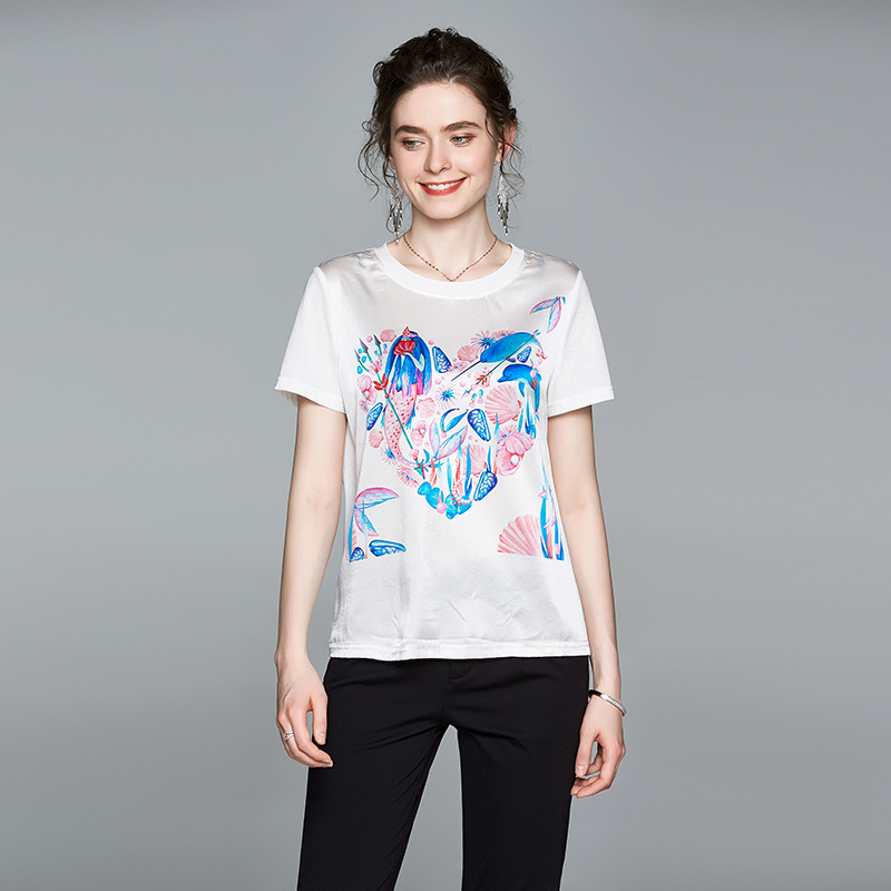 Heavyweight new spring and summer white silk womens T-shirt round neck top 2020 silk short sleeve womens loose size