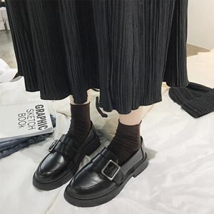ins小皮鞋女2020春季复古一脚蹬新款学生平底百搭英伦风单鞋子潮