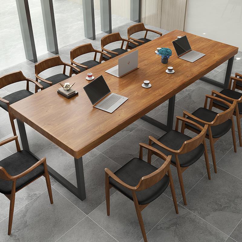 实木桌长桌loft会议桌椅组合台式电脑书桌办公桌现代简约洽谈桌子