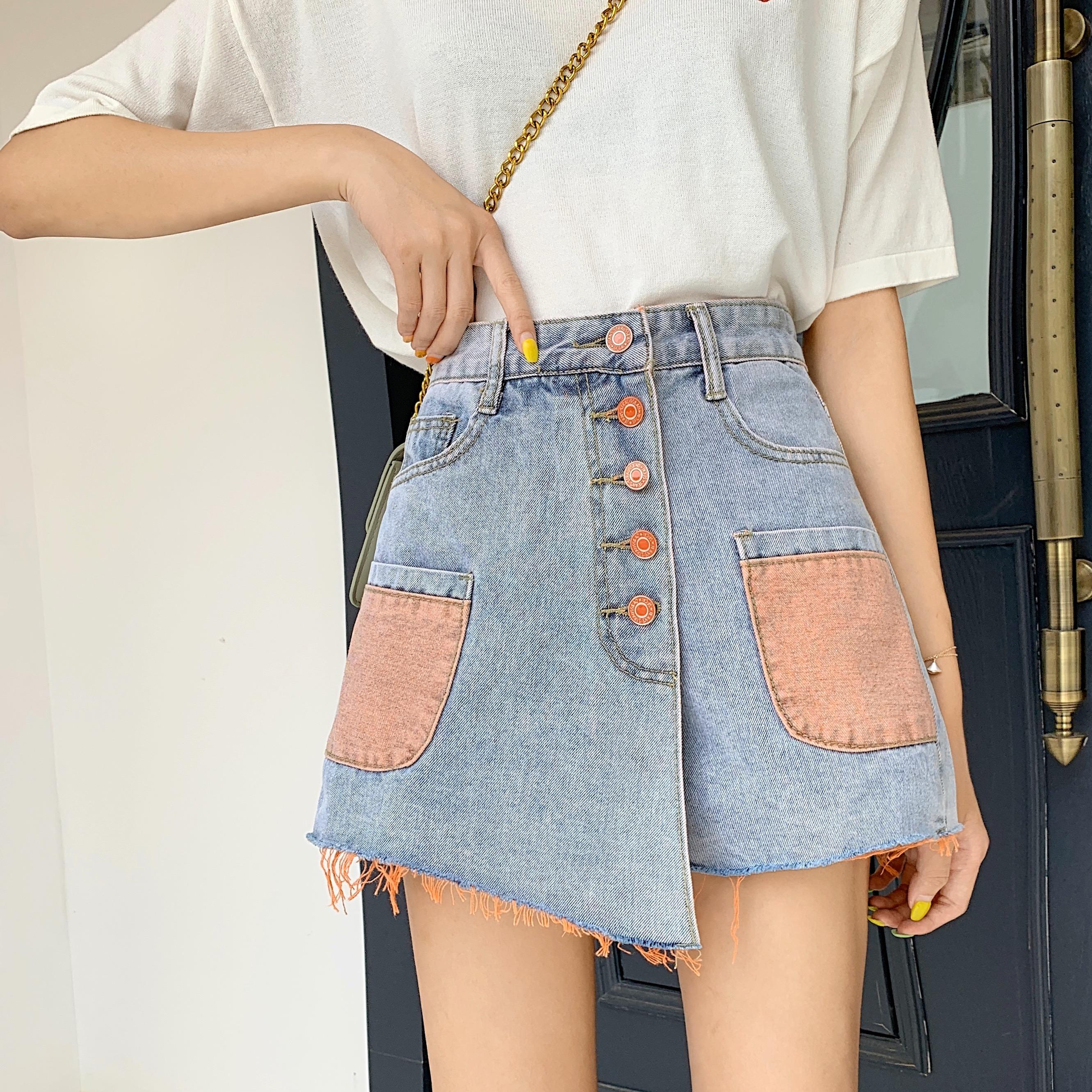 實拍新款牛仔短褲裙褲女高腰單排扣口袋撞色工藝