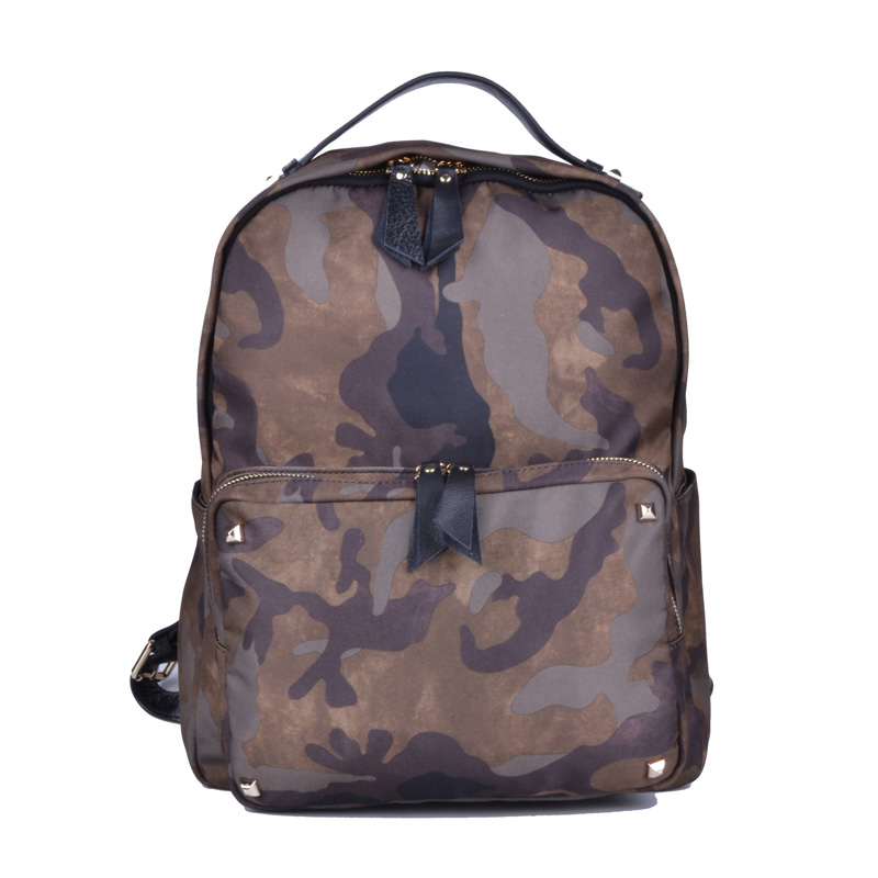 Bill Adler camouflage couple nylon waterproof cloth with cowhide schoolbag rivet casual backpack fashion