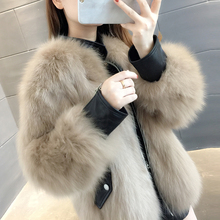 2019 new Haining fox fur coat women's short stand collar leather long sleeve loose thin coat winter