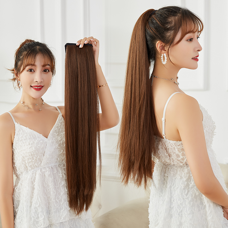 Bandage style long straight hair wig high double ponytail one piece cushion piece fluffy tie fake braid patch Antique Style