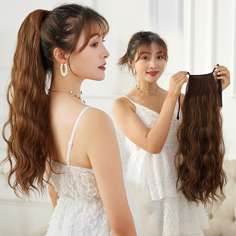 绑带一片式假发女长款大波浪玉米烫高双马尾水波纹扎辫子
