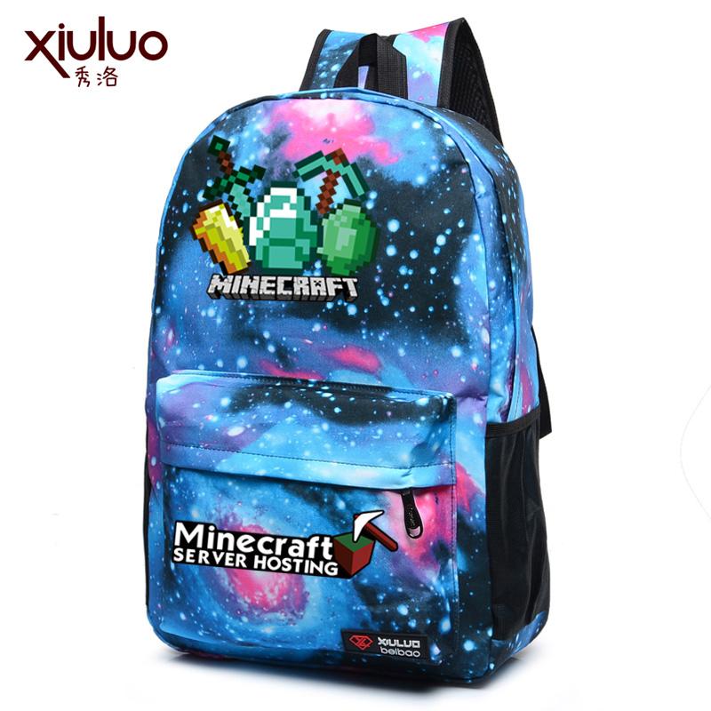 我的世界雙肩包書包男女小學生Minecraft周邊苦力怕背包星空