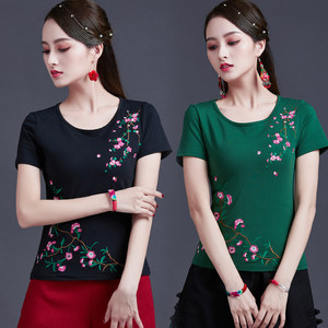 绣花民族风女上衣圆领短袖t恤夏季新款中国风女装大码广场舞服装