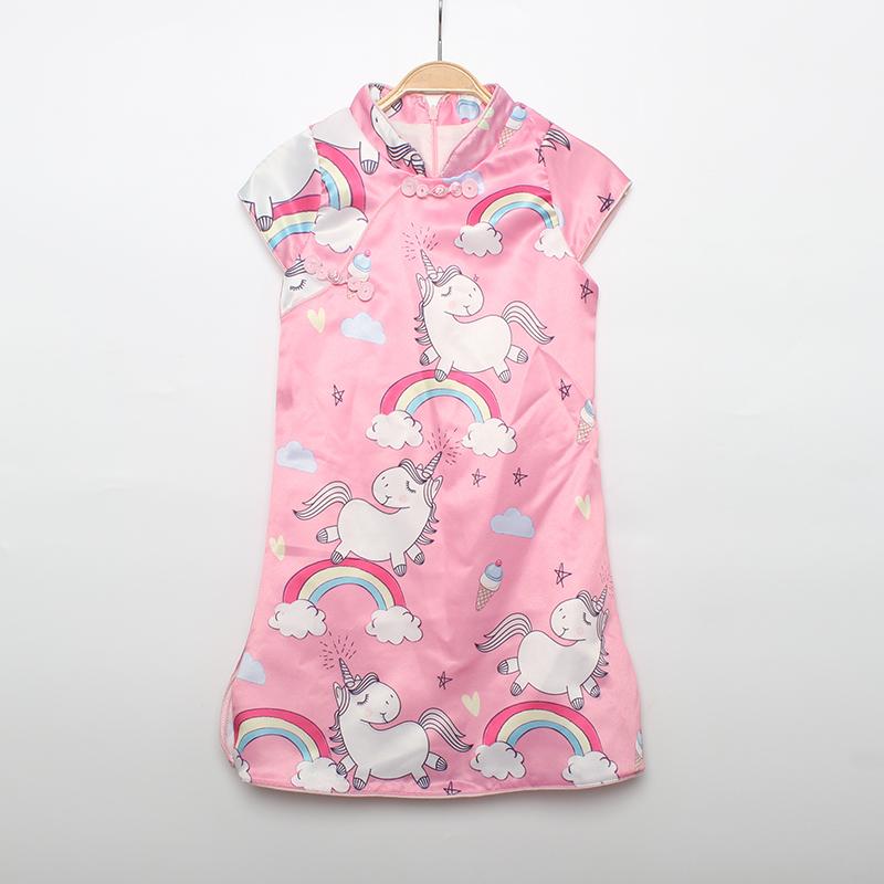 女童新款旗袍连衣裙独角兽卡通小清新可爱半月袖女宝修身裙子童装