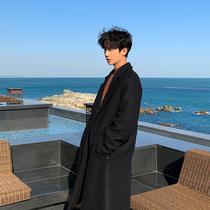 2020秋季新款青年韩版黑色中长款呢子外套休闲宽松毛呢大衣男士潮