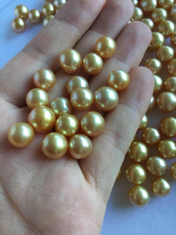月亮湖菲律宾天然进口纯金色海水珍珠diy散珠孔后无暇8~10mm圆形