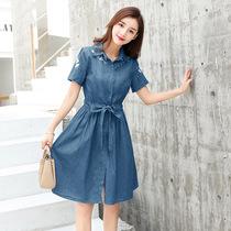 牛仔连衣裙女夏短袖大码2018新款韩版中长款显瘦刺绣小清新A裙子