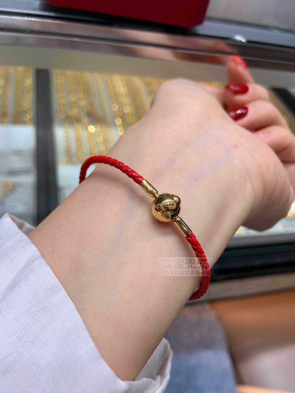 香港周大福皮绳原装正品 手绳手链绳黑色红皮绳粉 转运珠专柜原厂