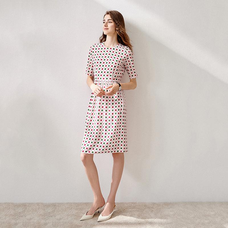 1V2241心动审美 贵精品质 雅致波点优雅褶修身收腰双层真丝连衣裙