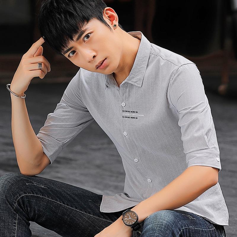 长袖衬衫男chic韩风中袖韩版修身英伦帅气七分袖衬衣男潮流