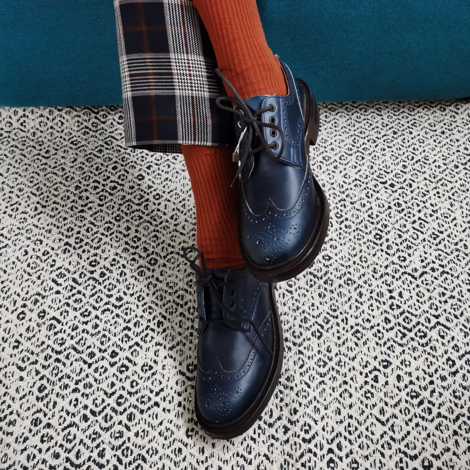 德国采购新品Trickers女布洛克雕花德比鞋圆头低帮厚底中性单皮鞋