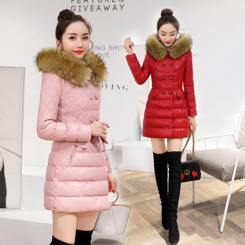 2017冬季新款BLSNY16103-1配仿毛领韩版时尚优雅PU皮棉衣
