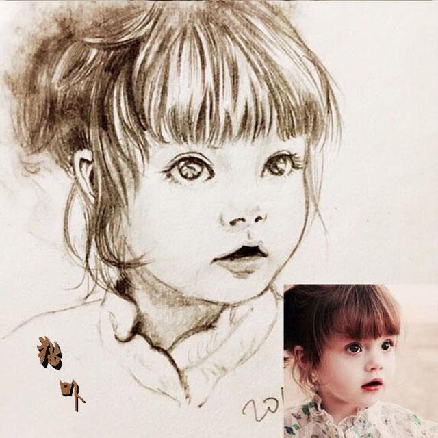 素描头像定制代画肖像手绘人像Q版真人画像设计真人照片转彩绘