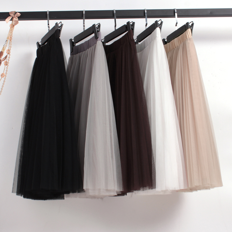 Gauze skirt womens half length medium length fluffy mesh half skirt pleated skirt A-line a spring / summer 2020 mid length skirt