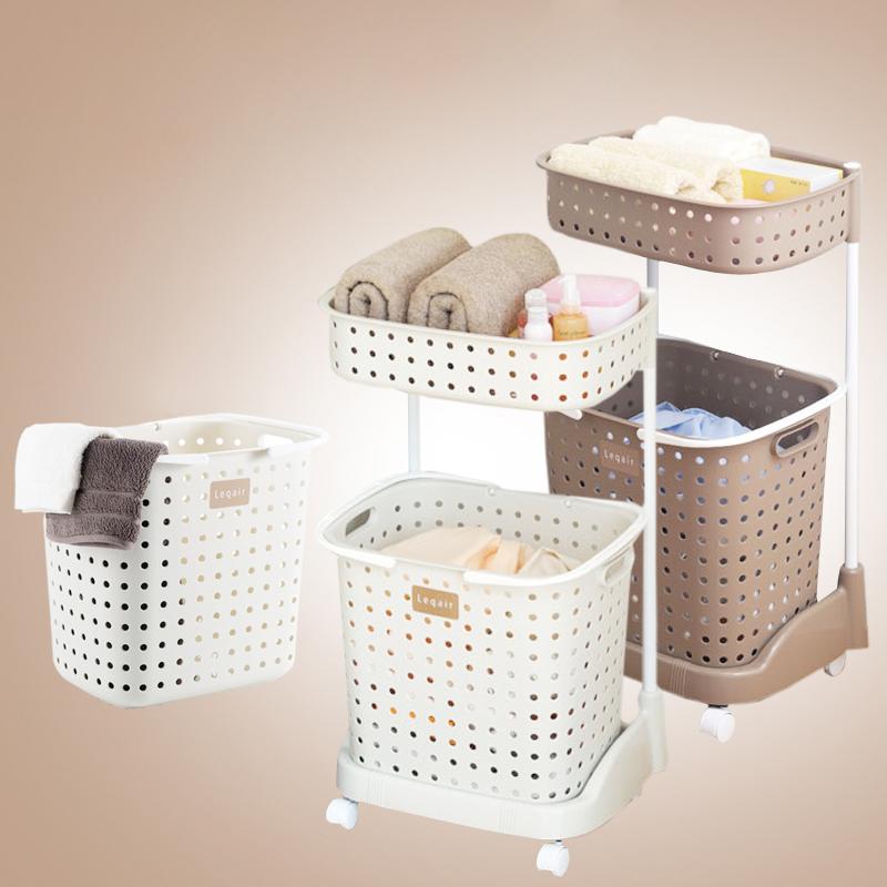 日本进口塑料脏衣篮双层洗衣篮洗涤筐三段脏衣篓脏衣服手提收纳筐