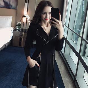2020秋季新款女法式復古山本超仙兩件套裝小黑裙心機設計感連衣裙