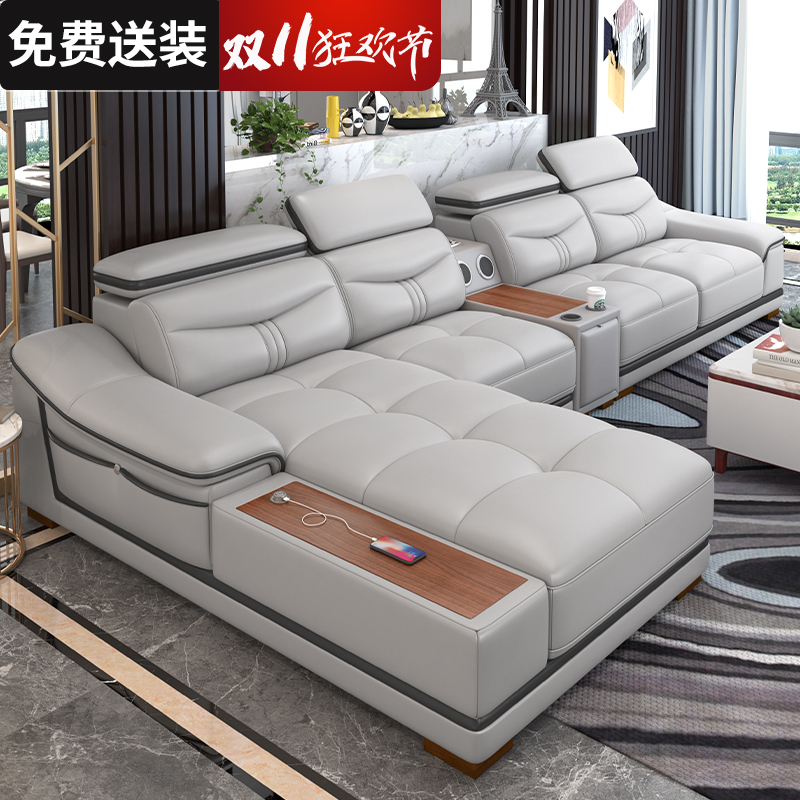 Leather corner sofa, head layer cowhide combination living room, modern and simple luxury, large and small size, leather creative light luxury