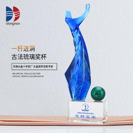 高档水晶蓝色琉璃孔雀石高尔夫挥杆运动造型奖杯体育比赛颁奖留念图片